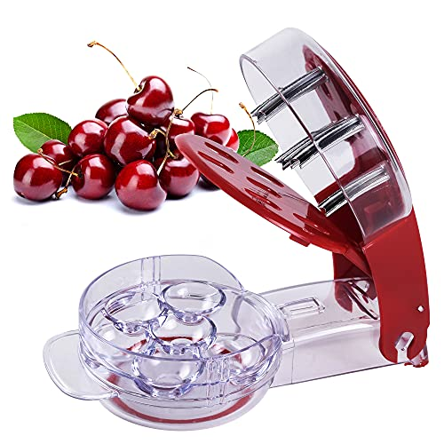 Cherry Pitter Stainless Steel Multiple Cherry Seed Extractor Remover Machine with Pits and Juice Container 6 CherriesRed