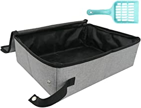 Petleader Collapsible Portable Cat Litter Box Black/Gray for Travel Light Weight Foldable