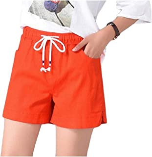 VITryst Womens Lace-up Elastic-waist Wide Legs Shorts Beach Pants with Pockets