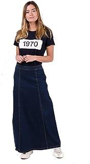Wash Clothing Company Matilda Gonna di Jeans Lunga - Lavato Scuro Gonna Denim Lunga MATILDADW