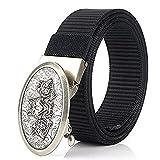SFBBBO Cinturon Hombre Cinturón Militar para Hombre, cinturón táctico de Viaje al Aire Libre Ajustable para Hombre con Hebilla de plástico para Pantalones, Hebilla Negra-Plateada
