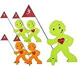 StreetBuddy - Warnfigur Kindersicherheit 05-er Pack (3 x Grün, 2 x Orange)