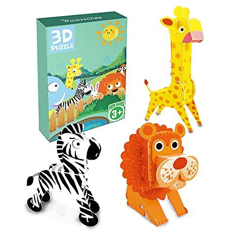 Tre puzzle in una scatola Puzzle 3D Puzzle (B-Leone giraffa zebra)