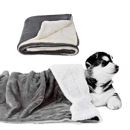 Guangyu Manta Impermeable para Perros Gatos Mascotas,Manta Lavable de Felpa,Antideslizante con Suave Sherpa para Sofá Coche Interior y Exterior (Gris)