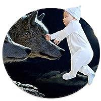 エリアラグ軽量 オオカミ月 フロアマットソフトカーペット直径31.5インチホームリビングダイニングルームベッドルーム