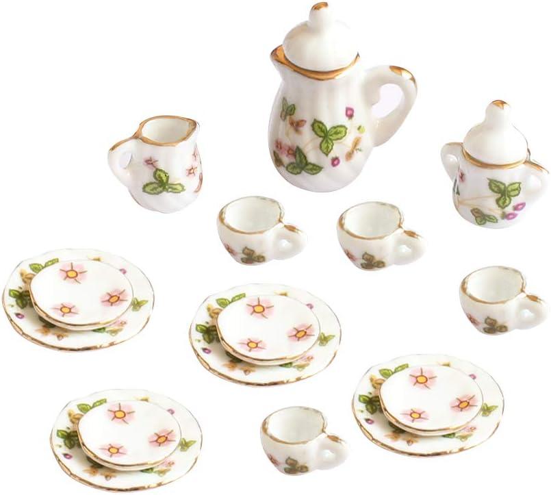 Romote Mini Ceramic Tea Set Green Flower Pattern Porcelain Ceramic Tea Set Kids Toy Mini Kitchen Toy Diy Miniature House Kit 15 Pcs