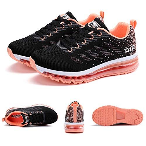Smarten Zapatillas de Running Hombre Mujer Air Correr Deportes Calzado Verano Comodos Zapatillas Sport Black Pink 34 EU