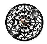 Astronomical Art Vinyl Record Reloj de Pared Hueco de Pared Binoculares Antiguos Telescopio Vintage Regalo Art Deco Reloj Deco 12 Pulgadas