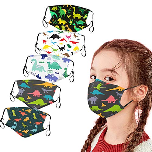 Kinder Bunt Stoff Mund-Nasen-Schutz Set, 5/10 Stück Waschbar Baumwolle Cartoon Animal Print Atmungsaktive Weich Stoffschutz Mit Ohrschlaufen, Tiermotiv Mund Bedeckung für Jungen Mädchen (L, 5PC)
