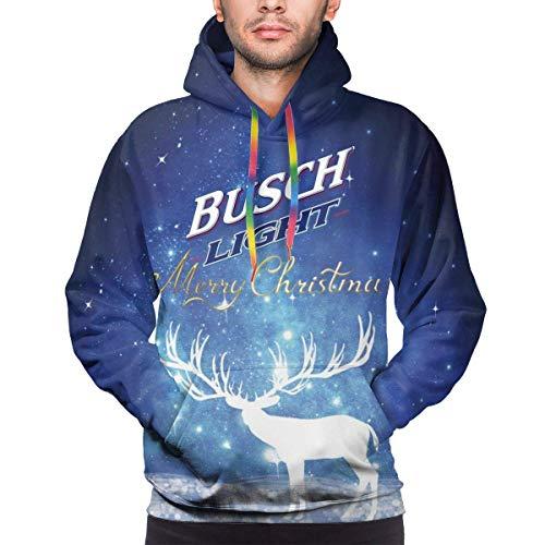 harry wang Stampante 3D Busch Light Letter da Uomo Regalo di Natale Felpa con Cappuccio in Poliestere Felpe Sottili Casual M