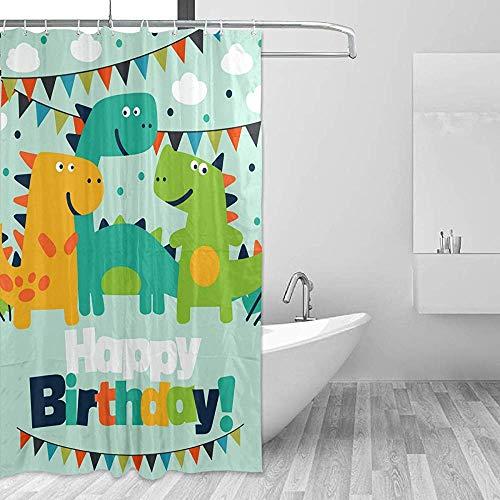 GABRI Cartoon Dinosaurier Alles Gute zum Geburtstag Duschvorhang Set für Zuhause Polyester wasserdicht Stoff Badezimmer mit Haken 36x72 inch