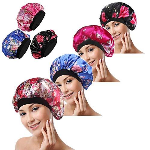 4 Stück Weiche Satin Schlafmütze, BESTZY Satin Mütze Schlafmütze, Wide Band Salon Bonnet für Mädchen Nachtmütze Kopfbedeckung Set für Haarausfall, Haarpflege (Schwarz, Blau und Rose Rot)