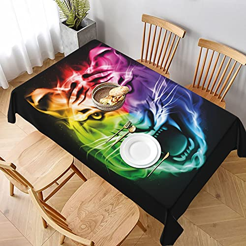 Mantel Rectangular,Pantalla Abstracta Multicolor Gran felino ardiente Espectro de Fuego Color Lavable...