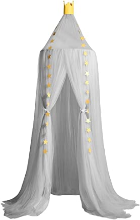 Hoomall Mosquito Net Bed Canopy Round Lace Dome Princess Play Tent Bedding for Baby Kids Children's Room 240cm Grey