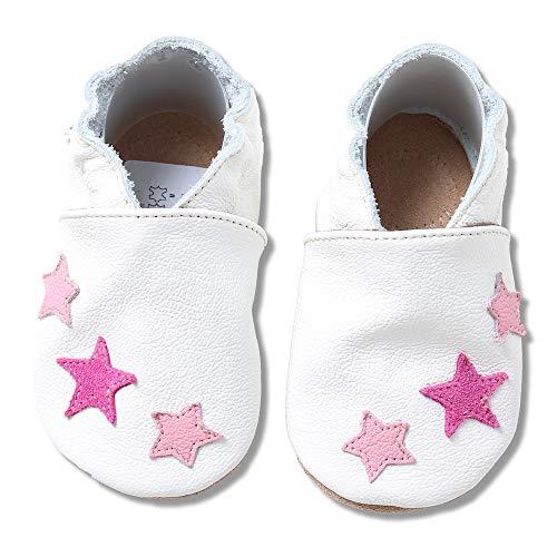 HOBEA-Germany Krabbelschuhe in verschiedenen Designs für Mädchen, weiß mit pinken Sternchen, Schuhgröße:24/25 (24-30 Monate)