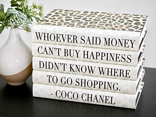 Fashion Designer Decorative Quote Books, Funny Shopping Quote Book Decor, Books for Decorating Tables and Shelves, Leopard Print Home Decor, Set of 5