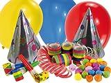 Amscan 550017 - Partyset mit 20 Teilen, Partyhüte, Luftschlangen, Tröten, Luftballons, Papierbällchen, Geburtstag, Karneval