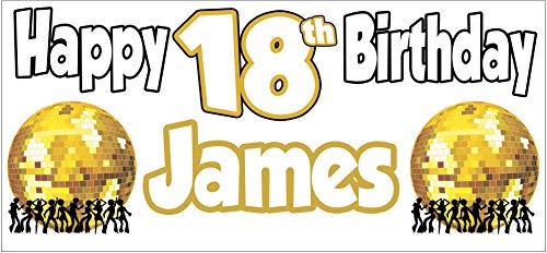 AK Giftshop Gepersonaliseerde Volwassen Disco Thema Verjaardag Banner - Poster - Feestdecoraties - Heren - Dames - Tiener - Zoon - Dochter - Kleinkind - Kleinkind - Moeder - Nan - Papa - Vriend (Pak van 2)