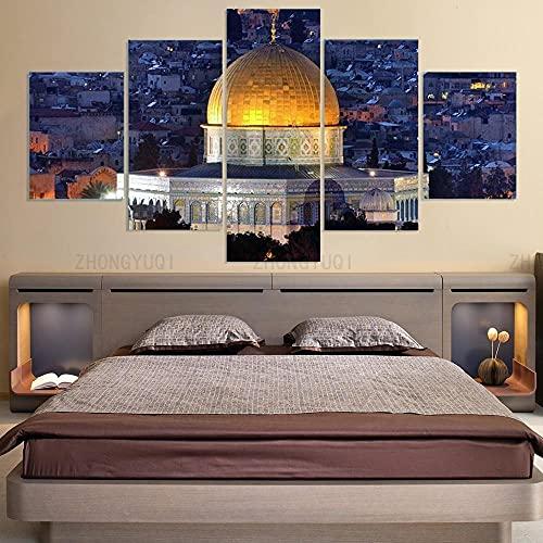 DSGER 5 Piezas Impresión En Lienzo Mezquita De La Roca De Jerusalén Cuadro para Sala Estar Póster De Arte Pared Pintura Decoración Hogar 50Cmx25Cm