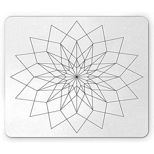 Mandala-Mausunterlage, modernes Design der Verzierungs-Kunst mitBlumen- und geometrische Elemente Mousepad, Charcoal Grey White