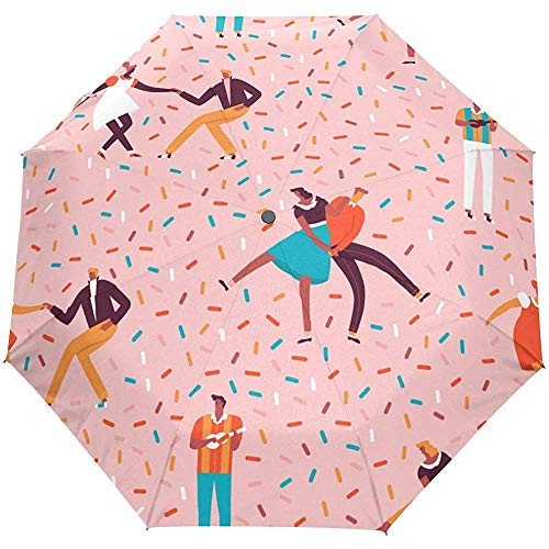 Vintage Dancer Polka Dots Auto Open Umbrella Sun Rain Umbrella Anti UV Folding Compact Automatic Paraguas