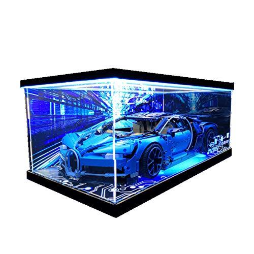 Bugatti Veyron Building Block Sports Building Blocks Auto la Scatola di Acrilico ad Alta Resistenza LED HD Sfondo a Getto d'inchiostro Copertura Antipolvere GK Fatto a Mano (Color : Up Light)