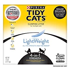 One (1) 17 lb. Box - Purina Tidy Cats Light Weight, Low Dust, Clumping Cat Litter, LightWeight 4-in-1 Strength Multi Cat Litter Low dust for a clean, easy pour Controls ammonia, fecal and urine smells Lightweight formula is 50% lighter than the leadi...