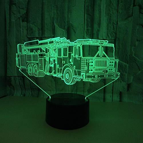 Luz De Noche 3D Led Modelo De Camión De Bomberos Ilusión Óptica Lámpara Para Niños, Decoración Del Hogar Lámpara De Mesa De Noche Regalos De Navidad Y Cumpleaños 16 Colores Cambio Con Control Remoto