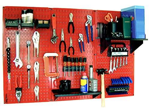 Wall Control 30-WRK-400RB Standard Workbench Metal Pegboard Tool Organizer,Red/Black