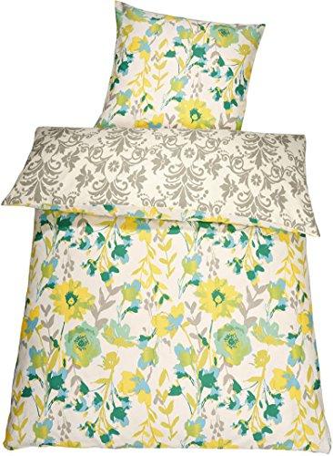 Meradiso® Baumwollsatin Wendebettwäsche (155 x 220 cm, gelb grün Floral/Ornamente)