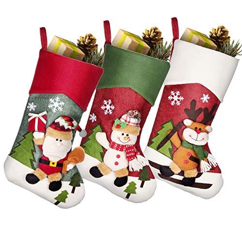 Adorfine 3er Nikolausstrumpf Set Weihnachtsstrumpf zum Befüllen(44 * 21cm), Reindeer Schneemann zum Weihnachtsgeschenktasche, Hängende Strümpfe auf Kamin Schaufenster Weihnachtsdeko