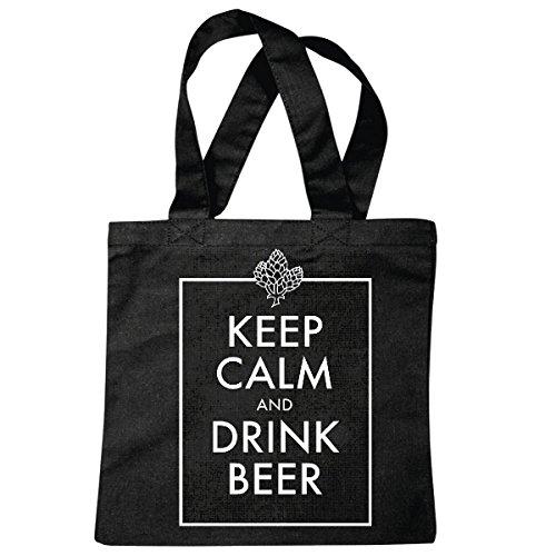 Tasche Umhängetasche Keepcalm and Drink Beer Bier BIERTRINKEN Alkohol Bier Wodka Schnaps Wein Alkohol Rotwein WEIßWEIN LIKÖR Einkaufstasche Schulbeutel Turnbeutel in Schwarz