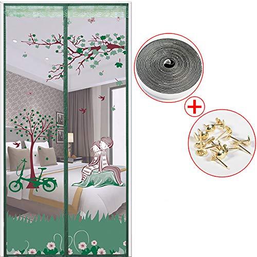 Magnetische hordeur Houd insecten buiten Mosquito Door Screen Superstrak zelfsluitend Magnetische afdichting en duurzaam magneetstripgordijn Magnetische horren voor deur,B,80 * 190