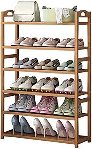 Rack da scarpe Scarpiera scarpiera 6 Livello Self Supporting Wooden Shoe Rack, immagazzinaggio del pattino, scarpe Espositore Griglia di armadio Supporto Corridoio bagagli Unità Organizer .Rack di sto