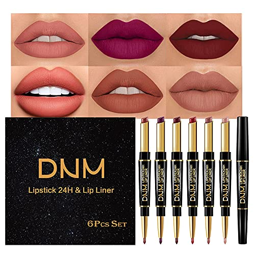 6Pcs Lip Liner and Lipstick Set,DNM Double Head Matte Mat Lipstick 24H & Lip Liner 2 in 1 Makeup Set for Black Women Waterproof Long Lasting 24 All Day Dark Red Lipstick Matte Gift Kit with Lipliner