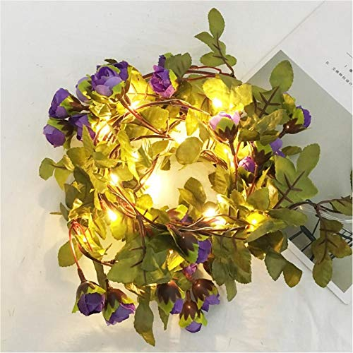FGHK 2.2M Artificial Rose Flowers Leaves Vine String Lights Power Hanging Wire Wire Garland Light para Boda DIY