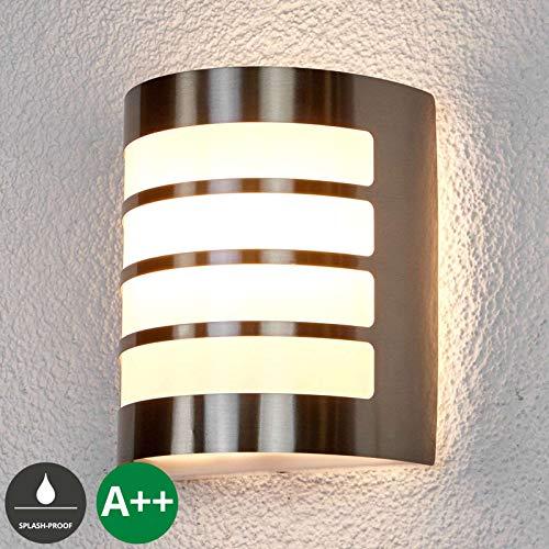Lampenwelt Wandleuchte außen 'Noyan' (spritzwassergeschützt) (Modern) in Alu aus Edelstahl (1 flammig, E27, A++) - Außenwandleuchten, Wandlampe, Außenlampe, Wandlampe für Outdoor & Garten