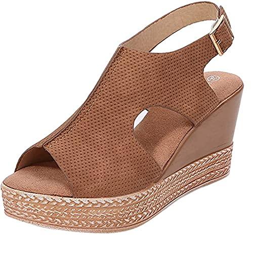 Nuevo 2021 Sandalias Mujer Verano Moda Zapatos de plataforma mujer Cuña Zapatos de Boca de Pescado Roman Playa Zapatillas Sandalias de Punta Abierta casual Fiesta Tacones Altos Sandalias