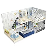 OSALADI Miniatura de casa de muñecas DIY Villa Obra de Arte romántica Miniatura para Regalo de San valentín cumpleaños niños Accesorios de Arte (sin batería)