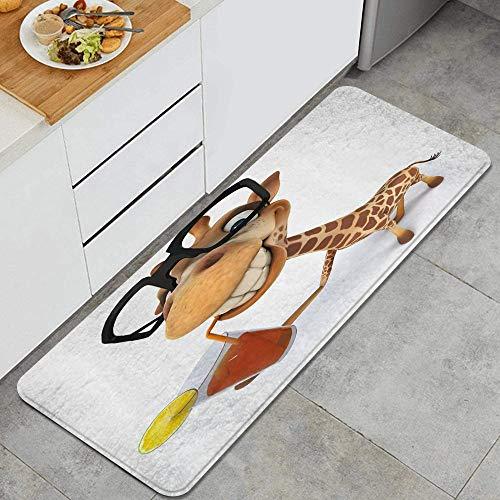 VAMIX Alfombra de Cocina,Animales de Dibujos Animados Divertida Jirafa 3D con Vasos para Beber Jugo,Lavable Antideslizante Alfombrilla de Goma Alfombra de Baño Alfombrillas Cocina