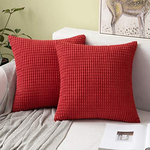 """MIULEE 2er Set Cord Weiches Massiv Dekorativen Quadratisch Überwurf Kissenbezüge Kissen für Sofa Schlafzimmer 16""""x16"""", 40 x 40 cm Rot"""