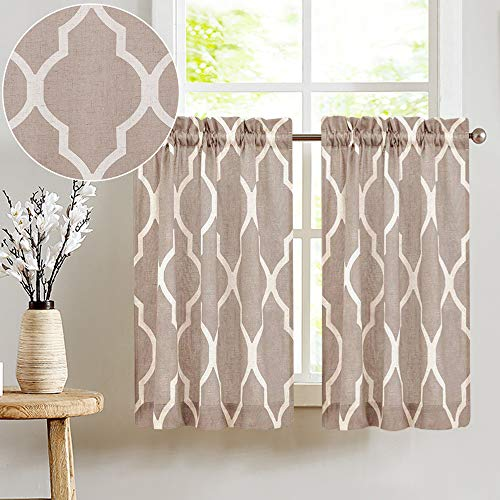 JINCHAN Kitchen Curtains Moroccan Tile Print Cafe Curtains Quatrefoil Kitchen Tiers 45 inches Long Lattice Printed Window Curtains Sets Bathroom Laundry 1 Pair Taupe on Beige