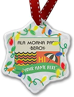 pansy Christmas Gifts Personalized Name Christmas Ornament Us Beaches Retro Ala Moana Park Beach Xmas Decor Ornament Home Decorations Hanging Crafts