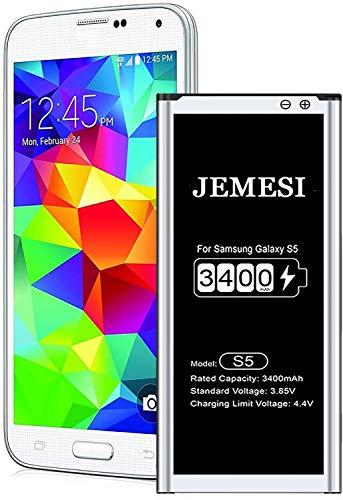 JEMESI 3400mAh Batterie pour Samsung Galaxy S5, Batterie Interne de Replacement Haute Capacité Lithium-ION Batterie Compatible avec BG900BBE(Garantie 12 Mois)