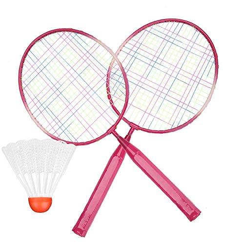 HengYue Badmintonschläger Paar Von 2 Schlägern Cartoon Leichter Und Robuster Übungs-Badmintonschläger Für Kinder Trainingsübungen Enthalten 1 Runden Ball Badmintonball Federball,Pink