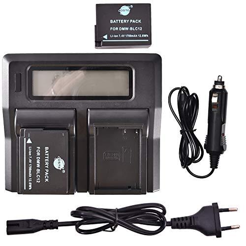 DSTE® 2 Pack Repuesto Batería DMW-BLC12 + LCD Cargador Doble Canal Compatible para Panasonic Lumix DMC-GH2,DMC-FZ330,DMC-FZ200GK,DMC-FZ1000,V-LUX4,Leica Q Cámara como DMW-BLC12E BP-DC12 Sigma BP-51