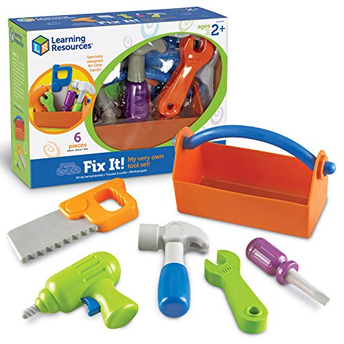 Learning Resources New Sprouts Fix It!, Fine Motor Tools for Toddlers, Pretend Play Toy Tool Set, Outdoor Toys, 6 Piece, Easter Gifts for Kids, Ages 2+