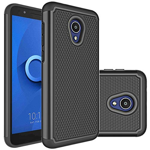 Alcatel TCL LX (A502DL) Case, Alcatel IdealXtra Case, Alcatel 1X Evolve Case Huness Durable Armor and Resilient Shock Absorption Case Cover for Alcatel 1X Evolve Phone (Black)