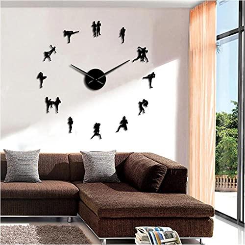 LTMJWTX Caja Tradicional tailandesa Fighting DIY Reloj Grande Decoración del hogar Muay Thai Kick Fight Sin Marco Reloj Grande Reloj de Combate Reloj grande-27inch