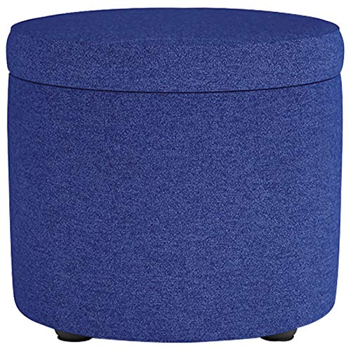 Linen Storage Ottoman, Round Footrest Stool Modern Decorative Footstool Shoe Bench Storage Space 33L Space-Saving with Removable Lid Great for Living Room Bedroom Office-IS-32x30cm(13x12inch)
